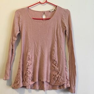 Really cute pink top with lace on bottom